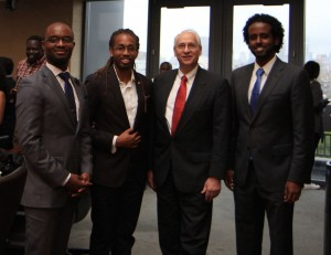 Ambassador Donald Booth (second from right) with ALA board members (left to right) Patrick Taqui '17 (treasurer), Ajani Husbands '17 (co-chair), and Petros Egziabher '17 (co-chair)
