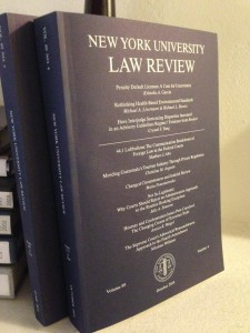 The Law Review's most recent publication: October 2014, Vol. 89, No. 4