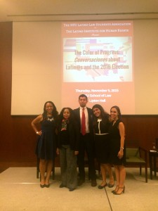 Left to right: Jennifer De Jesus (LaLSA Professional Development Co-Chair), Julissa Reynoso (Symposium Keynote Address & Chadbourne & Parke LLP Partner), Ken Carbajal (LaLSA Executive Co-Chair), Elisa Cariño (LaLSA Executive Co-Chair), and Maybelline Mena-Hadyka (LaLSA Admissions Co-Chair)