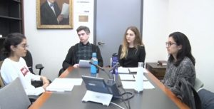 Four students in mediation simulation session