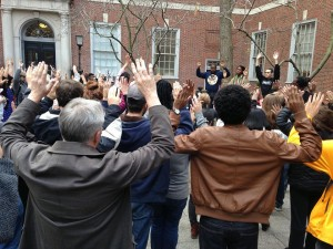 Walkout at NYU Law led by the Black Allied Law Students Association protesting police brutality