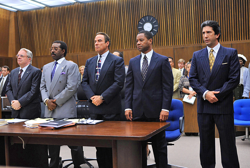 """A courtroom scene from """"The People v. O.J. Simpson"""" showing Simpson with his defense team"""