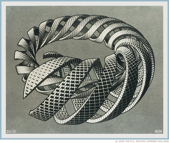 "M. C. Escher ""Spirals"" Copyright The M. C. Escher Company — Holland.  All rights reserved.  www.mcescher.com"