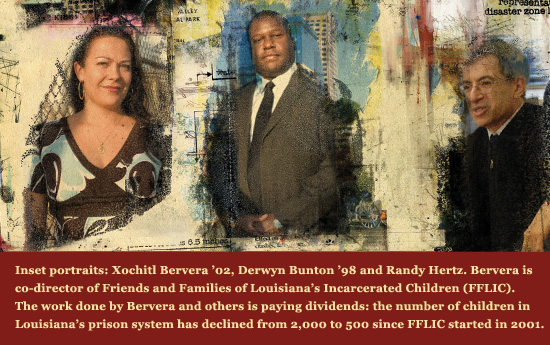 Inset portraits: Xochitl Bervera '02, Derwyn Bunton '98 and Randy Hertz.