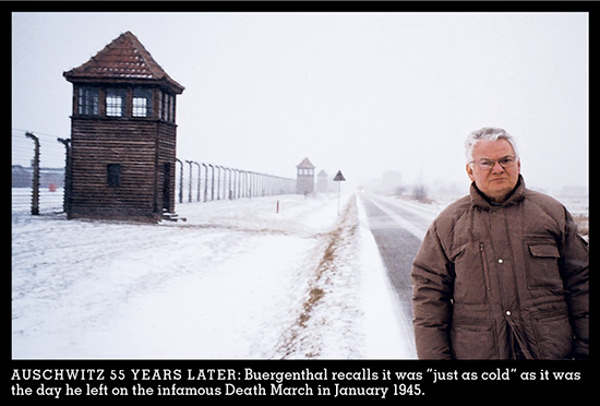 Thomas Buergenthal, outside Auschwitz, in 2000