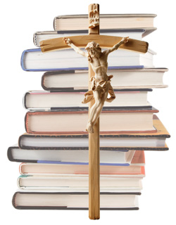 crucifix and books
