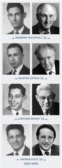 Herbert Wachtell '54, Martin Lipton '55, Leonard Rosen '54, and George Katz '55
