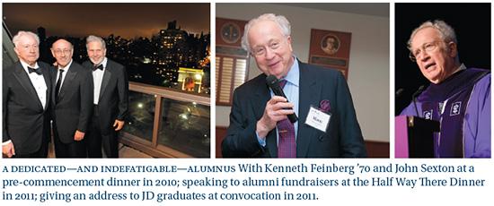 Martin Lipton '55, Kenneth Feinberg '70, and NYU President John Sexton