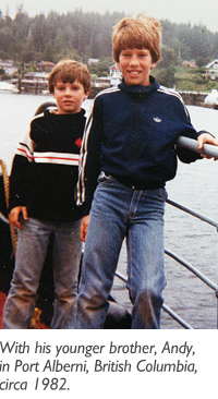 Trevor Morrison as a child, with his younger brother