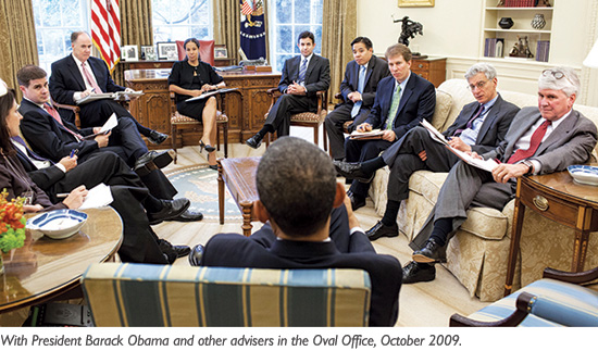 With President Barack Obama in the Oval Office, 2009