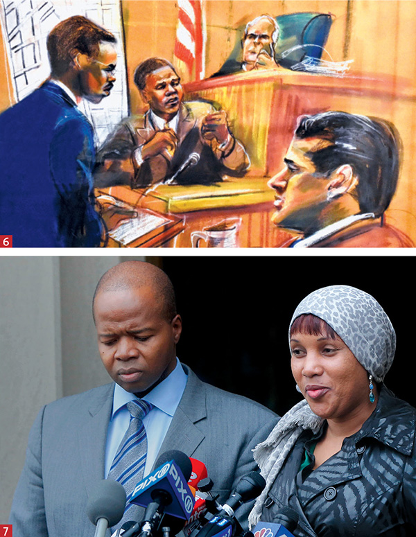 KEY MOMENTS: 6. Courtroom sketch of Thompson as assistant US attorney in 1999, directing Patrick Antoine on the stand, with defendant Justin Volpe in the foreground and Judge Eugene Nickerson of the US District Court for the Eastern District of New York presiding; and 7. at Bronx Supreme Court in 2012, announcing a settlement between his client Nafissatou Diallo and Dominique Strauss-Kahn