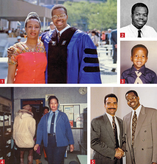 KEY MOMENTS: 1. NYU Law graduation, 1992; 2. NYU Law Picturebook, 1989-1990; 3. as a child, circa 1972; 4. Officer Clara Thompson at the precinct, circa 1985; and 5. With Ronald Noble, 1992